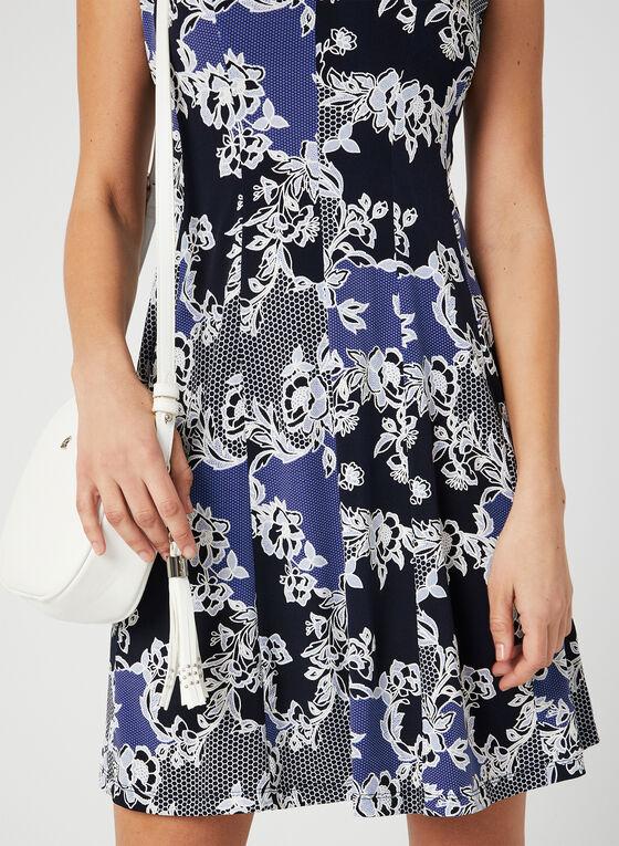 Robe ajustée et évasée à imprimé floral, Bleu