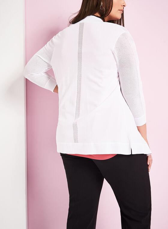 Cardigan ouvert en tricot et maillage, Blanc, hi-res