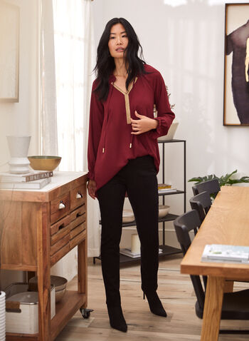 Embellished Collar Blouse, Red,  blouse, tunic, crepe, ruffled, drawstring, golden, trip, long sleeves, fall winter 2020