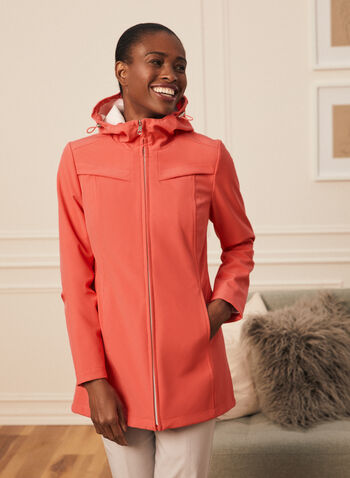 Novelti - Soft Shell Coat, Orange,  spring summer 2020, soft shell coat, water resistant, hood, zipper