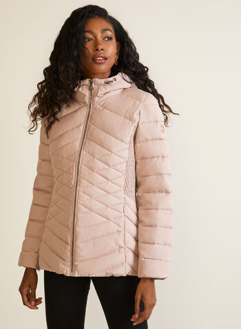 Bernardo - EcoPlume™ Coat, Pink,  fall winter 2020, coats, quilted, synthetic down, Bernardo, hood, Long sleeves