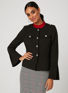 Ruffle Sleeve Crepe Jacket, Black, hi-res