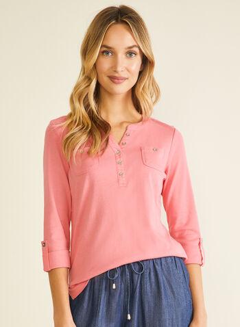 Cotton Henley Neck T-Shirt, Orange,  t-shirt, 3/4 sleeves, henley, cotton, breast pocket, spring summer 2020