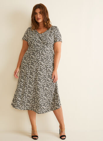 Floral Print Jersey Dress, Black,  spring summer 2020, short sleeves, textured jersey fabric, V-neck