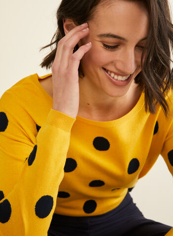 Boat Neck Jacquard Sweater , Yellow,  sweater, knit, long sleeves, dot, jacquard, boat neck, fall winter 2019