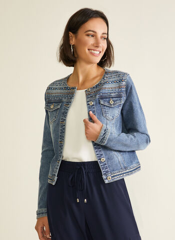 Veste en denim à détails brodés, Bleu,  veste, denim, broderies, sequins, boutons, printemps été 2020
