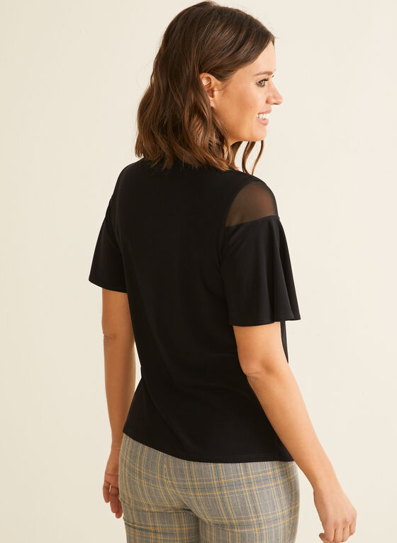 Short Sleeve Mesh Detail Top, Black