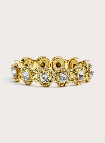 Crystal Stretch Bracelet, Gold, hi-res