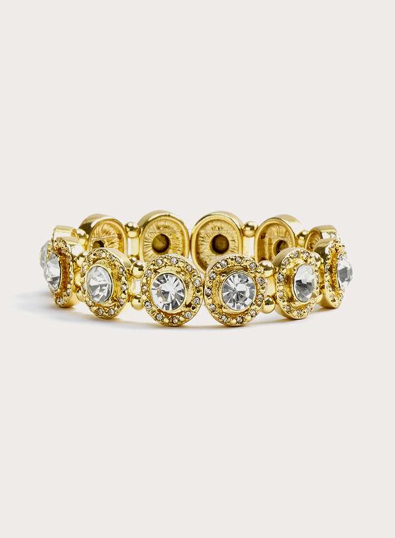 Bracelet extensible à cristaux, Or, hi-res
