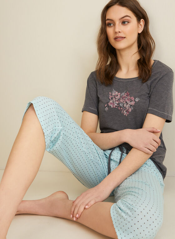 Comfort & Co. - T-Shirt & Capri Pyjama Set, Grey