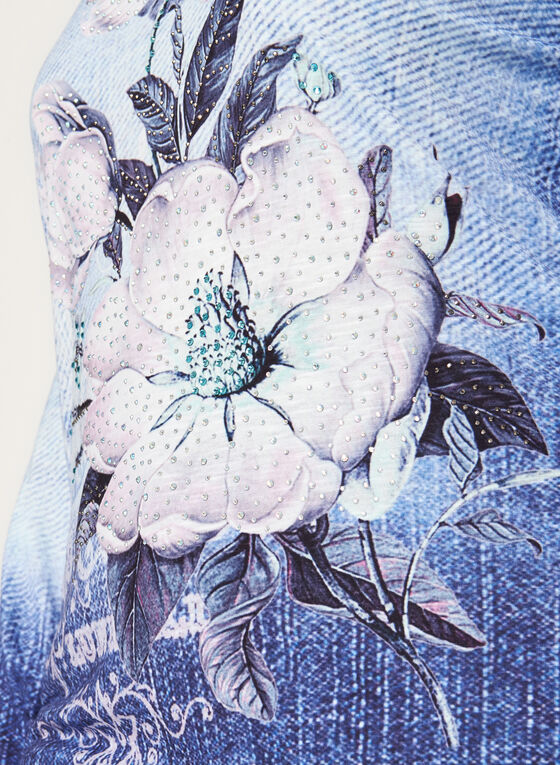 Crystal Embellished Floral Print Top, Blue, hi-res