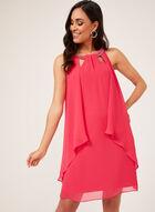 Chiffon Cutout Neck Dress, Pink, hi-res