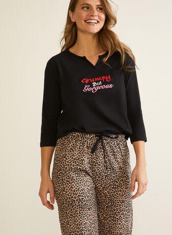 Leopard Print & Text Pyjama Set, Black,  pyjamas, 2-piece, set, leopard print, text, pants, pull-on, 3/4 sleeves, fall winter 2020