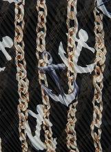 Chain & Anchor Print Neckerchief, Grey, hi-res