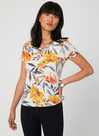 Floral Print Short Sleeve Top, Yellow, hi-res,  Canada, top, short sleeves, floral print, keyhole, fall 2019, summer 2019