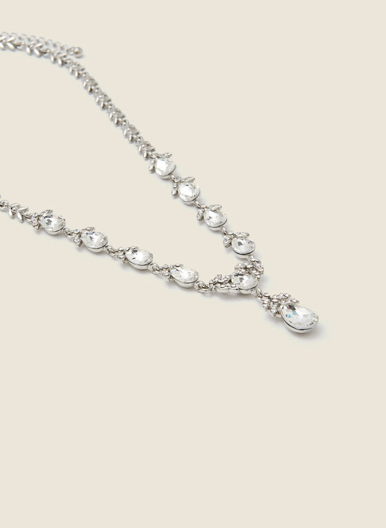 Multi Teardrop Pendant Necklace, Silver