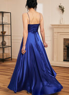 Apron Neck Satin Dress, Blue