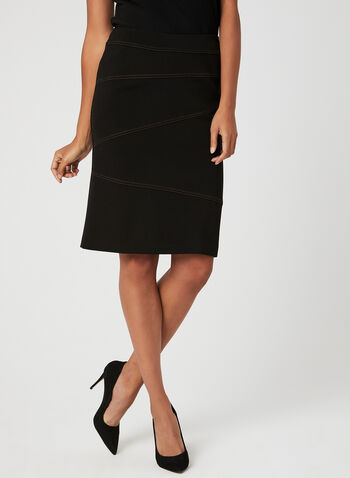 Contrast Stitch Pencil Skirt, Black, hi-res