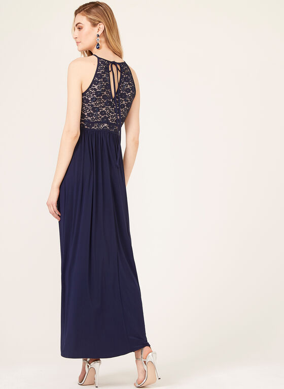 Sequin Lace Keyhole Neckline Dress, Blue, hi-res