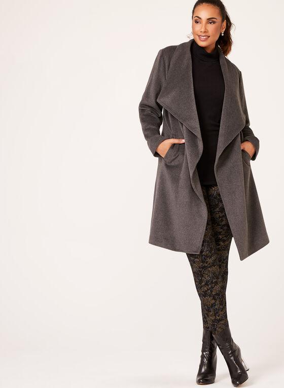 Manteau drapé en cascade, Gris, hi-res