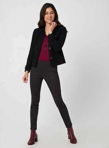 Pantalon coupe moderne à carreaux, Noir, hi-res,  automne hiver 2019, pantalon, jambe étroite, pull-on, taille élastique, taille mi-haute, motif, imprimé, carreaux