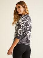 Haut à motif floral et détail nœud, Noir
