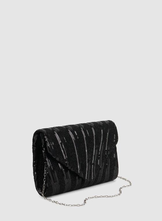 Pochette enveloppe en sequins, Noir