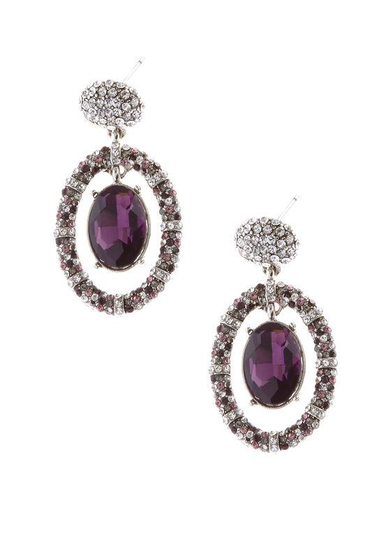 Boucles d'oreilles avec pendant en cristal, Violet, hi-res