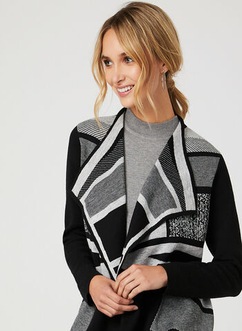 Alison Sheri - Colour Block Knit Cardigan, Black, hi-res