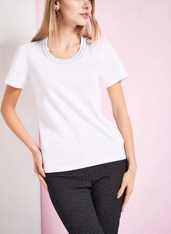 T-shirt détails col rond, Blanc, hi-res