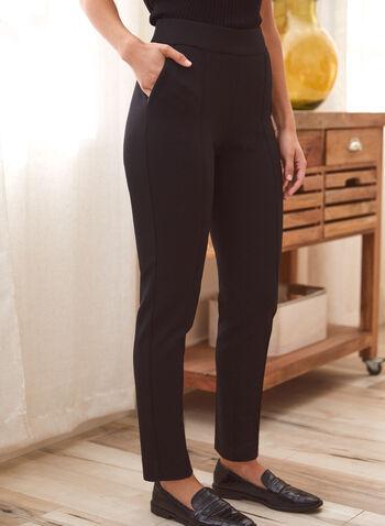 Slim Leg Pull-On Pants, Black,  Fall winter 2021, slim fit, pull on, pocketed, pleats,