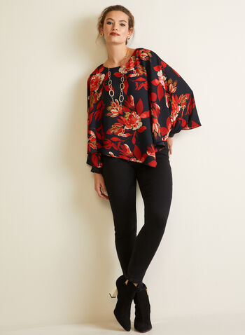 Floral Print Poncho Blouse, Black,  top, blouse, poncho, long sleeves, floral, fall winter 2020