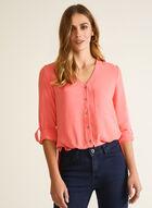 Knot Detail Button Front Blouse, Orange