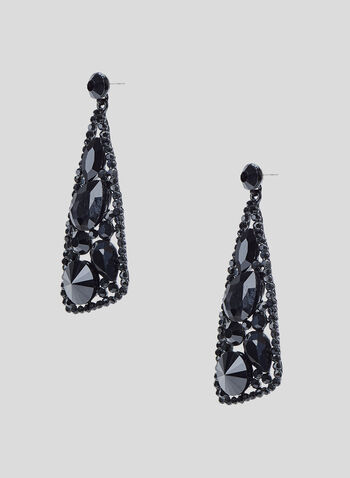 Triangular Facetted Stone Earrings, Black, hi-res