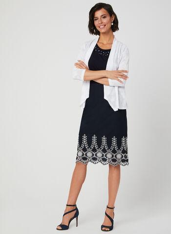 Eyelet Detail Cotton Skirt, Blue, hi-res