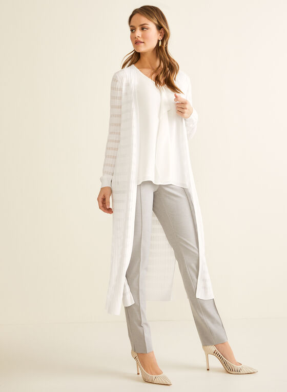 Open Front Long Sleeve Cardigan, White