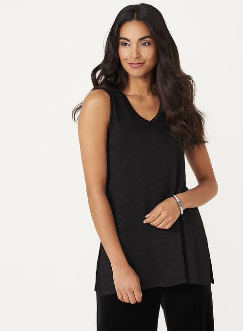 Sleeveless Knit Tunic, Black, hi-res