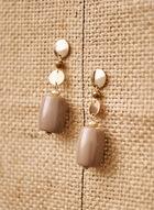 Boucles d'oreilles à pierres et disques dorés, Brun