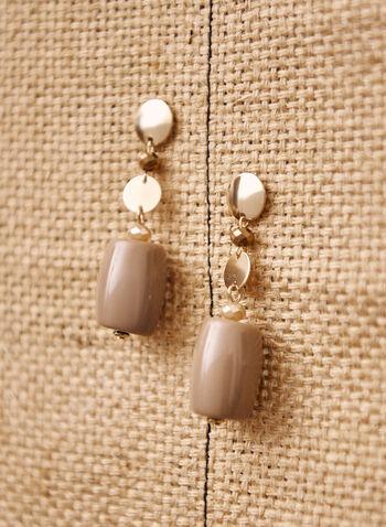 Geometric Dangle Earrings, Brown,  jewelry, jewellery, earrings, accessories, dangle, cylindrical, resin, metal, disc, golden, geometric, shapes