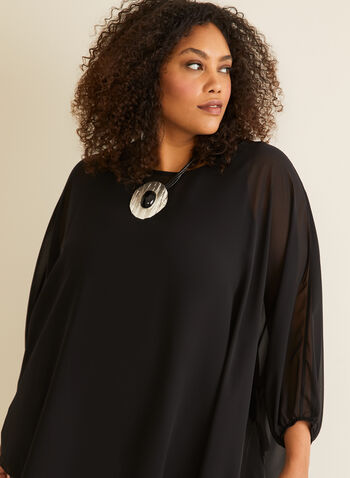 3/4 Sleeve Chiffon Blouse , Black,  blouse, poncho, chiffon, universal size, made in canada, summer spring 2020