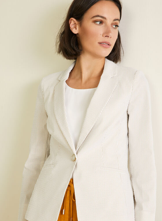 Stripe Print Single-Button Blazer, White