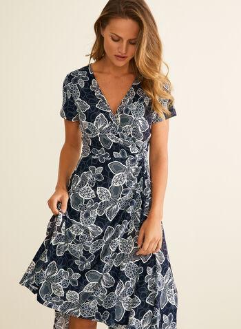 Floral Print Faux Wrap Dress, Blue,  dress, day dress, wrap, v-neck, short sleeve, floral, textured, jersey, stretchy, spring summer 2020
