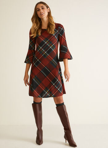 Bell Sleeves Tartan Dress, Red,  fall winter 2020, dress, bell sleeves, tartan pattern, round neck, fluid cut, holiday, holiday 2020, gifts