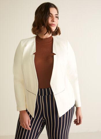 Blazer ouvert en faux suède, Blanc cassé,  blazer, col cranté inversé, faux suède, manches longues, épaulettes, zip, rivets, printemps été 2020