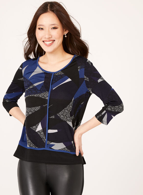 Abstract Print Top, Blue, hi-res