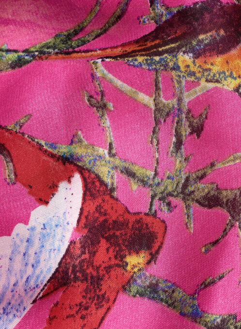Foulard rectangulaire en satin avec oiseaux, Rose, hi-res