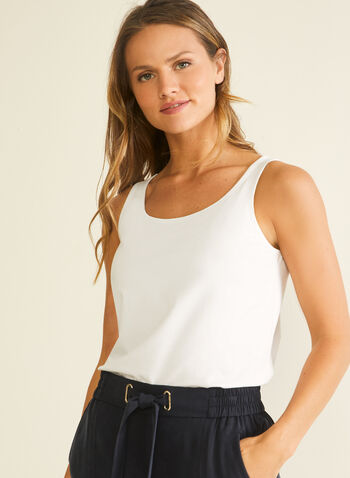 Cotton & Modal Tank, White,  tank, modal, cotton, sleeveless, scoop neck, spring summer 2020