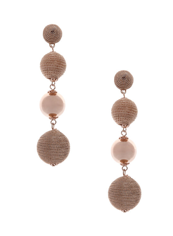 Round Tiered Earrings, Pink