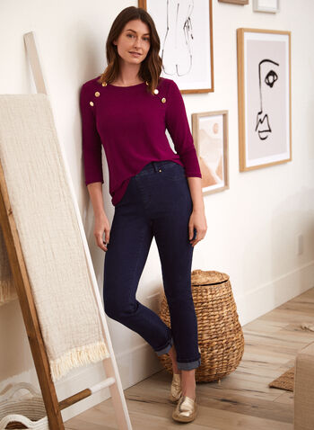 Golden Button Detail Crepe Top, Purple,  spring summer 2021, made in Canada, scoop neck, jewel neck, golden, button detail, 3/4 sleeve, crepe, knit, top, blouse, shirt