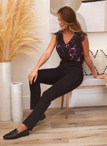 Rhinestone Detail Straight Leg Jeans, Black,  fall 2021, pants, jeans, denim, straight leg, rhinestone, straight leg, stud, design, pockets, patch, rivet, button, zipper, details, comfy, stretchy
